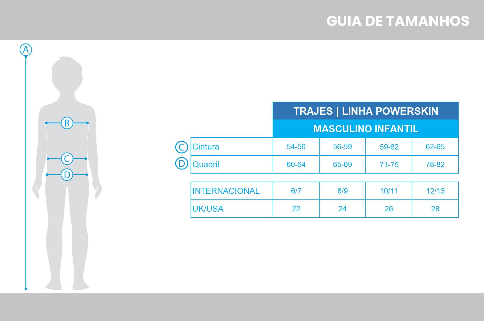 Tabela de medidas arena